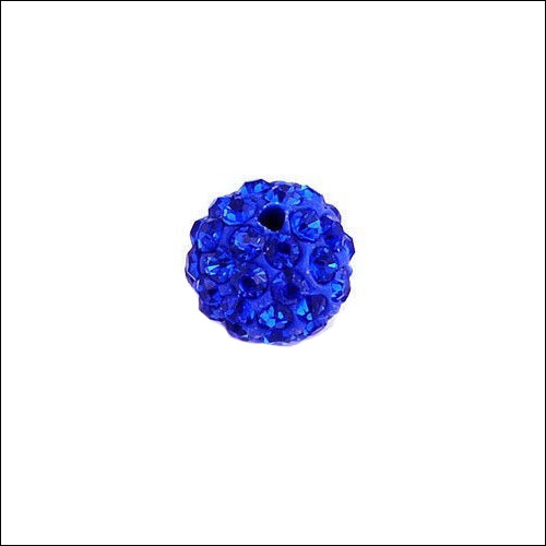 Crystal Pave Rhinestone Beads (10), 10mm, Royal Blue