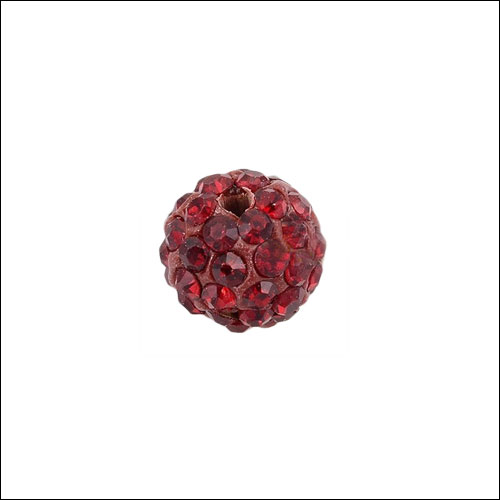 Crystal Pave Rhinestone Beads (10), 10mm, Red