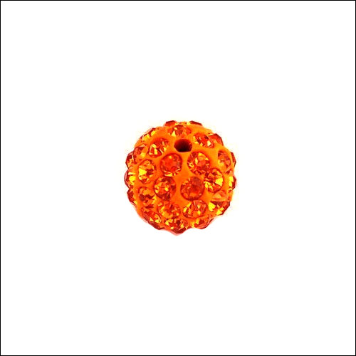 Crystal Pave Rhinestone Beads (10), 10mm, Orange