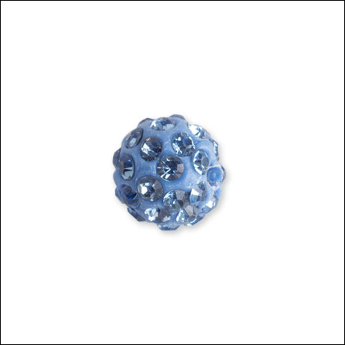 Crystal Pave Rhinestone Beads (10), 10mm, Light Blue