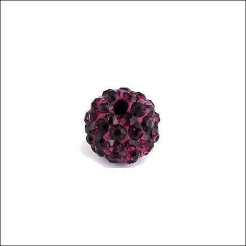 Crystal Pave Rhinestone Beads (10), 10mm, Burgundy
