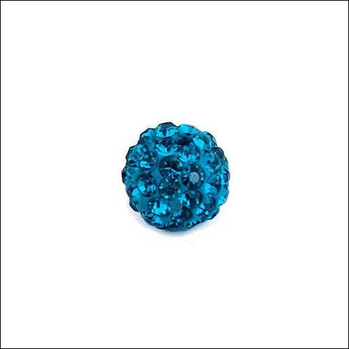 Crystal Pave Rhinestone Beads (10), 10mm, Dark Turquoise-Blue