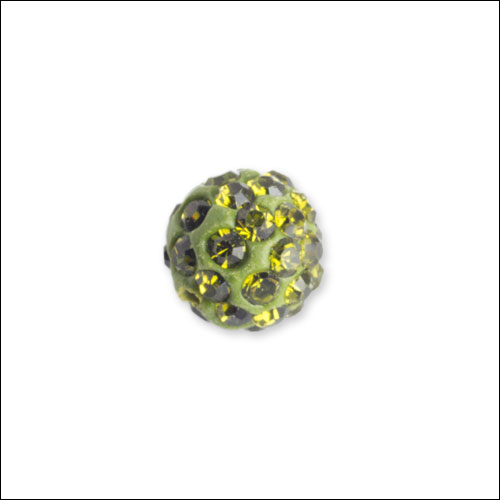 Crystal Pave Rhinestone Beads (10), 10mm, Olive Green