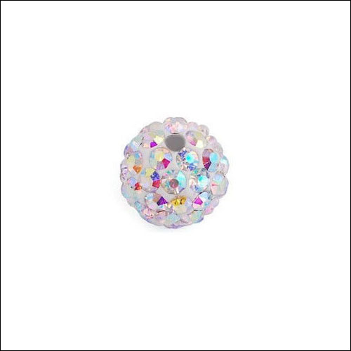 Crystal Pave Rhinestone Beads (10), 10mm, White AB