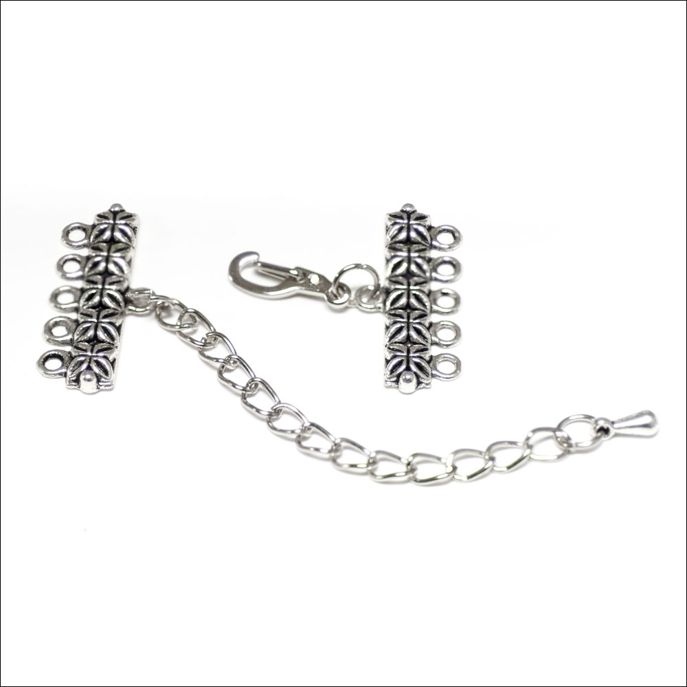 1/5 hole Flower Bar Clasp with Extension, Antique Silver (1)