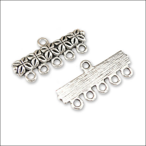 1/5 hole Flower Bar (4 each), Antique Silver