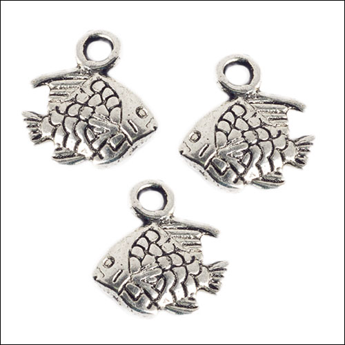 Small Angelfish Silver Charms (3) (no bail)