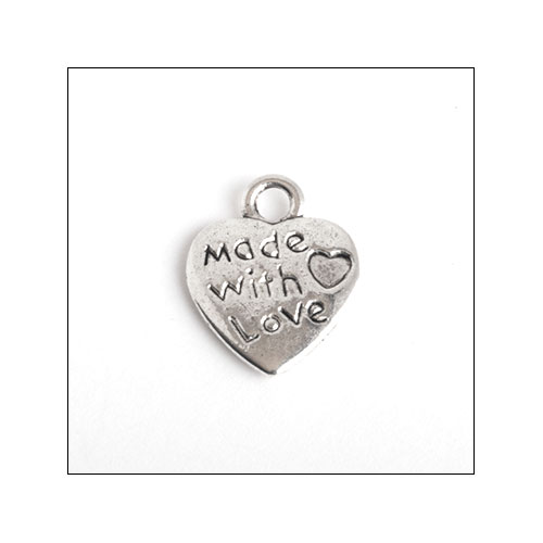 Made with Love Silver Heart Charms (3) (no bail)