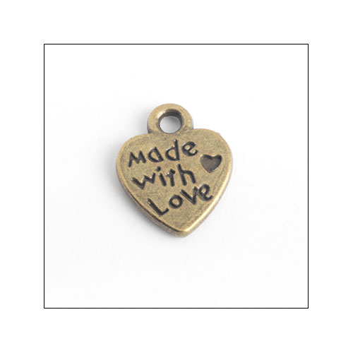 Made with Love Bronze Heart Charms (3) (no bail)