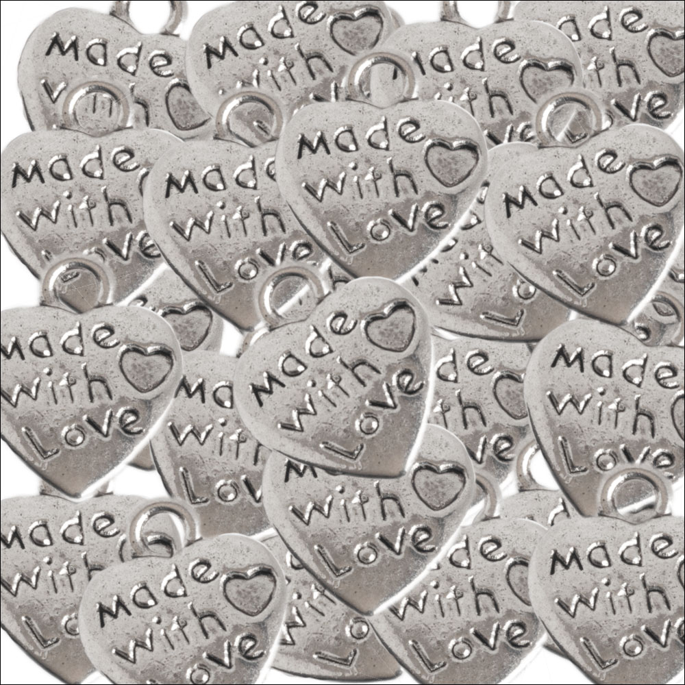 Made with Love Silver Heart Charms (25) (no bail)