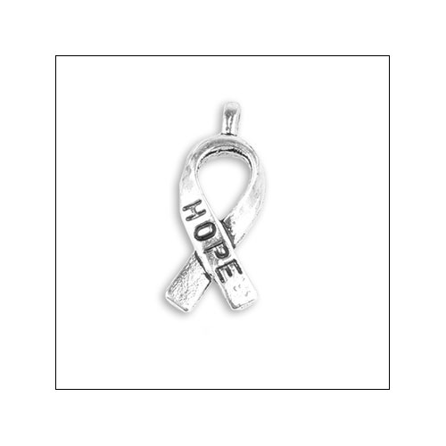 HOPE Ribbon Silver Charm (no bail)