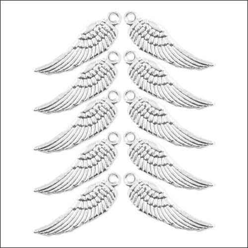 Angel Wing Small Silver Charms (50) (no bail)