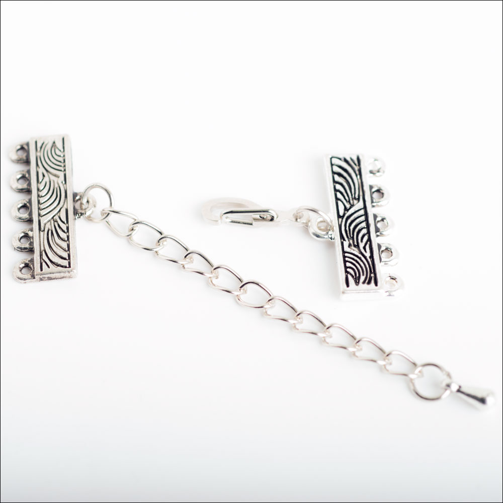 1/5 hole Swirl Bar Clasp with Extension, Antique Silver (1)