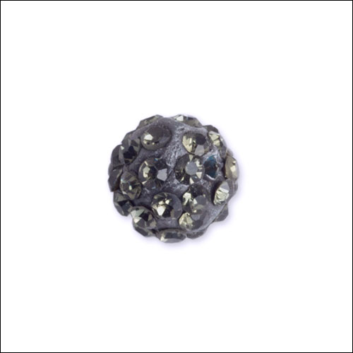 Crystal Pave Rhinestone Beads (10), 10mm, Gray