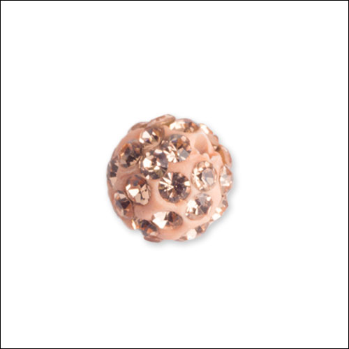 Crystal Pave Rhinestone Beads (10), 10mm, Pale Peach