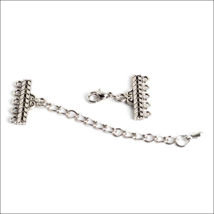 1/5 hole Victorian Bar Clasp with Extension, Antique Silver (1)