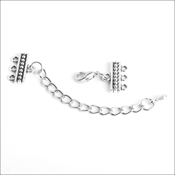 1/3 hole Dots Bar Clasp with Extension, Antique Silver (1)