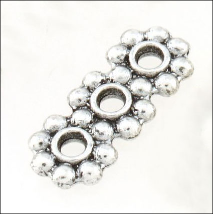 3 hole Daisy Spacer Bar,  5 x 12.5mm, Antique Silver (12)