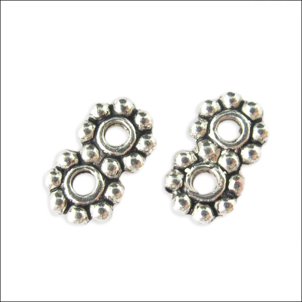 2 hole Daisy Spacer Bar,  4 x 7mm, Antique Silver (12)