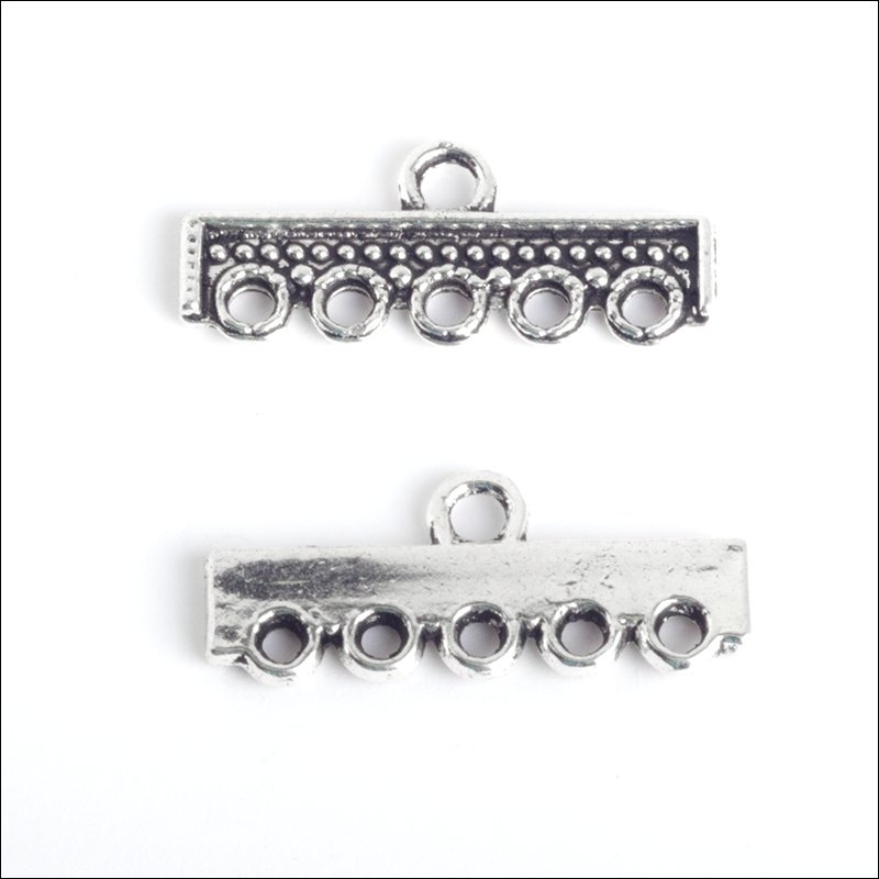 1/5 hole Square Bar (4 each), Antique Silver