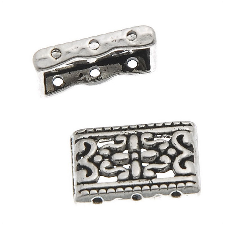 3 hole Deco Spacer Bar,  17.5 x 12mm, Antique Silver (6)
