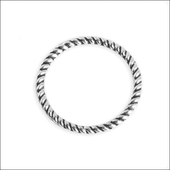 Twisted Ring, Antique Silver, 18mm (6)