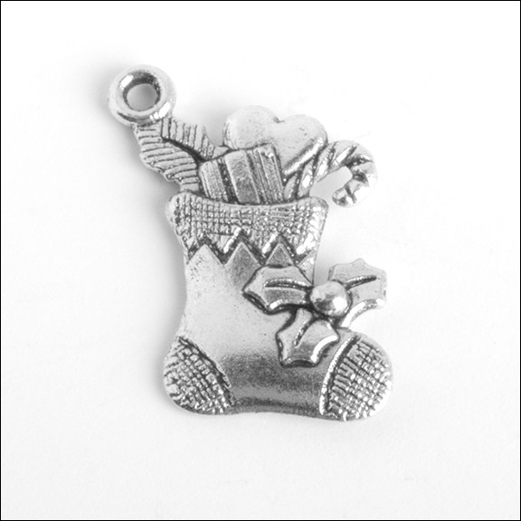Christmas Stocking & Gifts Silver Charm (no bail)