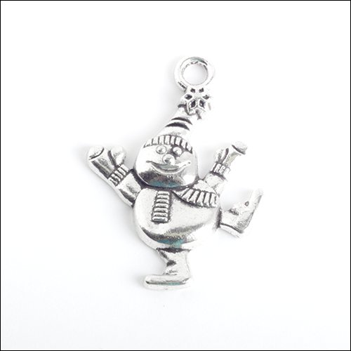 Happy Snowman Silver Charm (no bail)