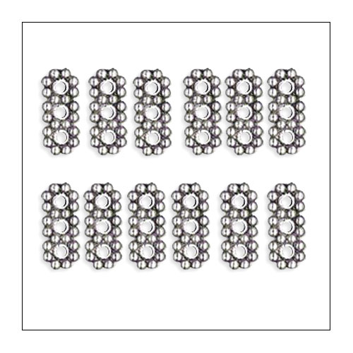 3 hole Daisy Spacer Bar,  4.5 x 10.5mm, Antique Silver (12)