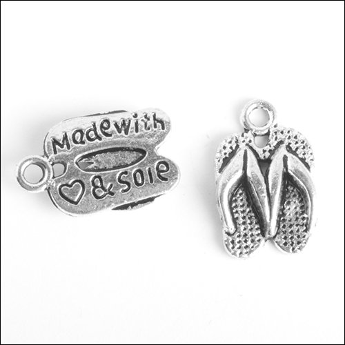 Flip Flop - Made with Heart & Sole Silver Charm (no bail)