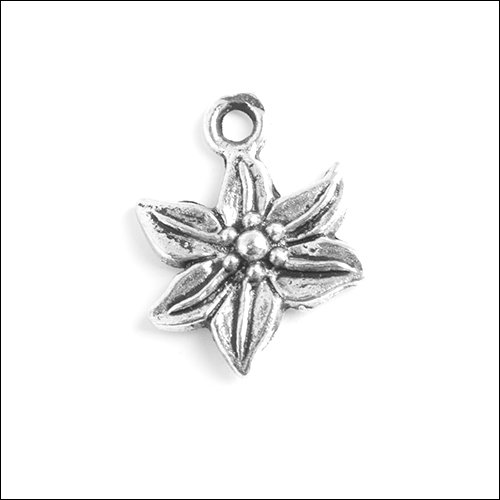 Poinsettia Flower Silver Charm (no bail)