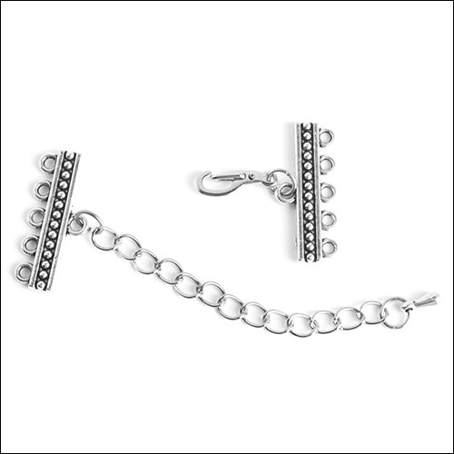 1/5 hole Dots Bar Clasp with Extension, Antique Silver (1)