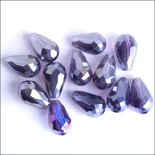 Crystal Teardrop (Pear), 12 x 8mm, Purple Iris (12)