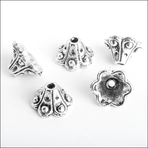 6 Petal Bead Cap, 9 x 6mm, Antique Silver (5)