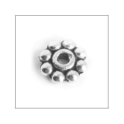 Daisy Spacer,  7mm, Antique Silver (25)