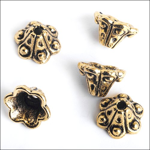 6 Petal Bead Cap, 9 x 6mm, Antique Gold (5)
