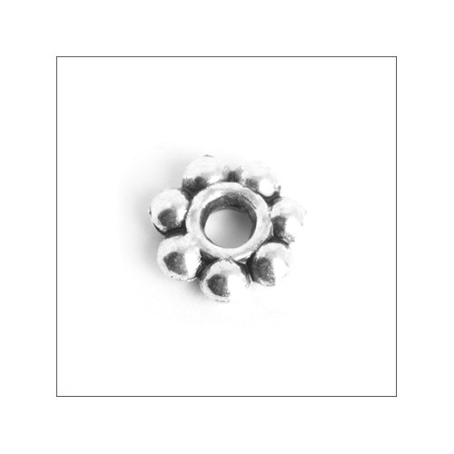 Daisy Spacer,  6mm, Antique Silver (25)