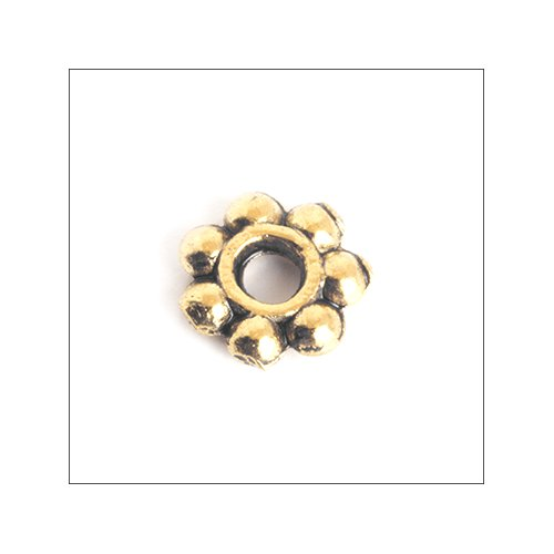 Daisy Spacer,  6mm, Antique Gold (25)