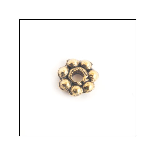 Daisy Spacer,  5mm, Antique Gold (50)