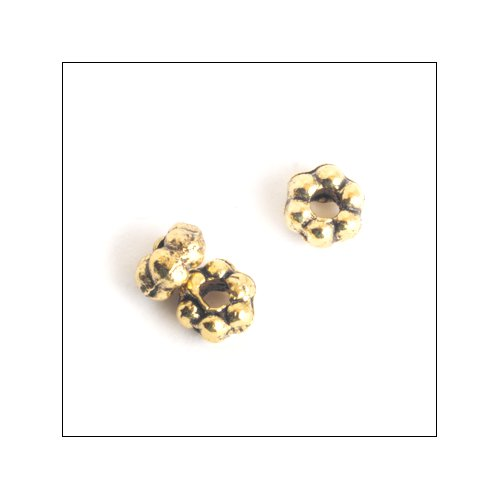 Daisy Spacer,  3x2mm, Antique Gold (50)
