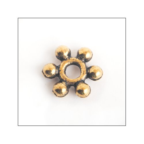 Daisy Spacer,  8mm, Antique Gold (25)