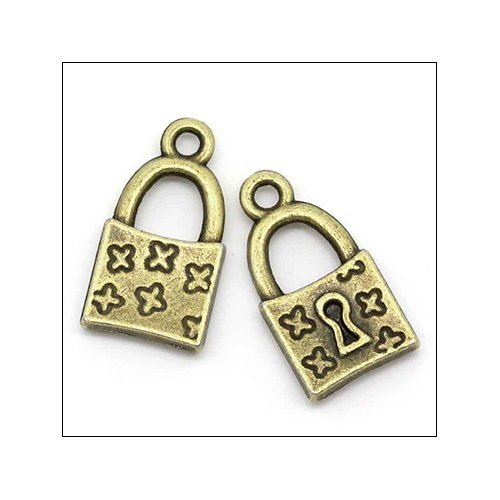 Mystic Padlock with Keyhole Bronze Charm (no bail)