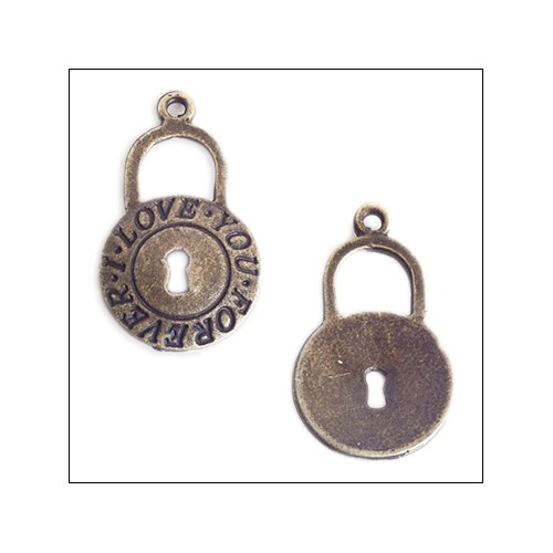 Bronze 'Love You Forever' Padlock with keyhole Charm (no bail)