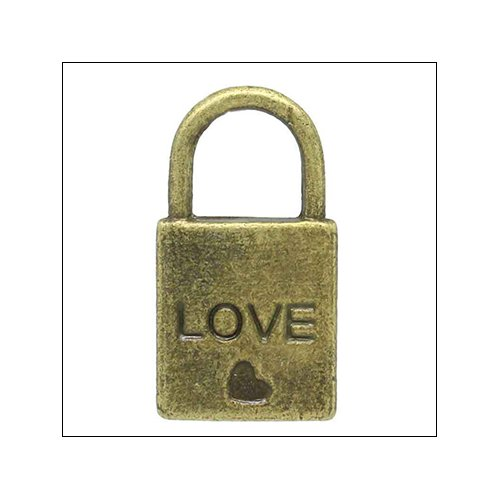 Bronze 'Love' Padlock with Heart Charm (no bail)