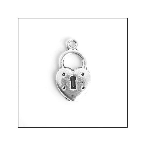 Heart Padlock with Keyhole Silver Charm (no bail)