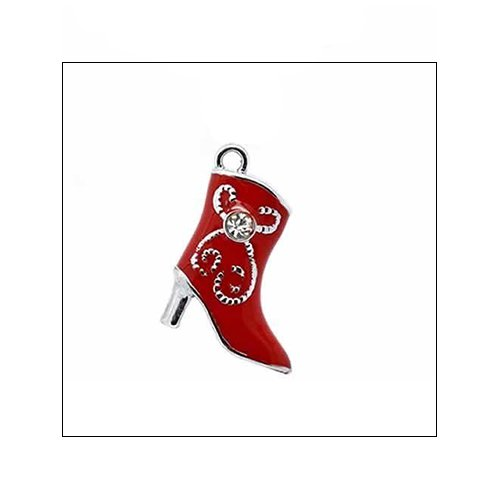 Silver & Red Enamel Boot Charm with Rhinestone (no bail)