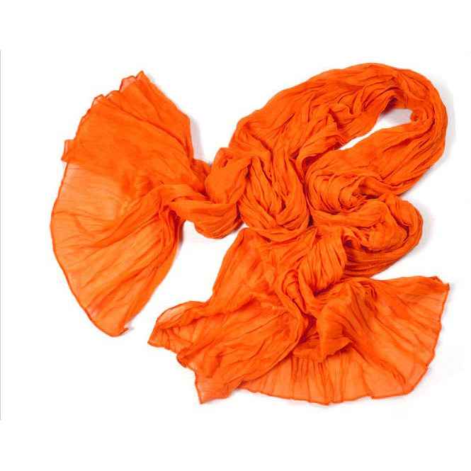 "Crinkle Scarf-Shawl-Stole, 65""x17"", Orange"