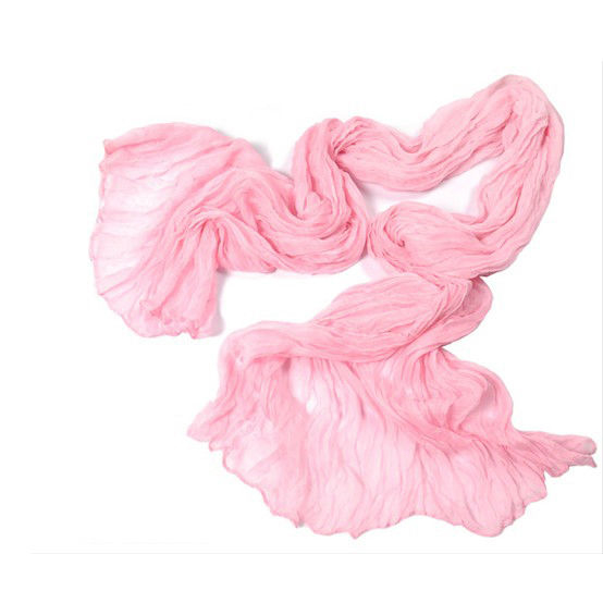 "Crinkle Scarf-Shawl-Stole, 65""x17"", Pink"