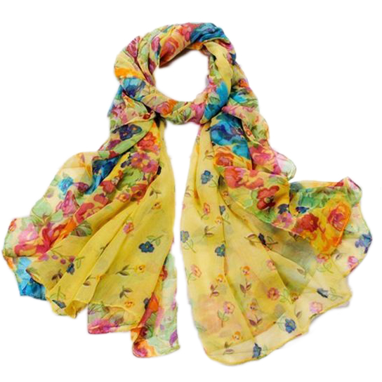 "Floral Scarf-Shawl-Stole, 60""x20"", Yellow"