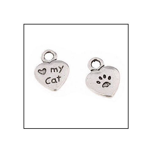 Love My Cat & Paw Silver Charm (no bail)